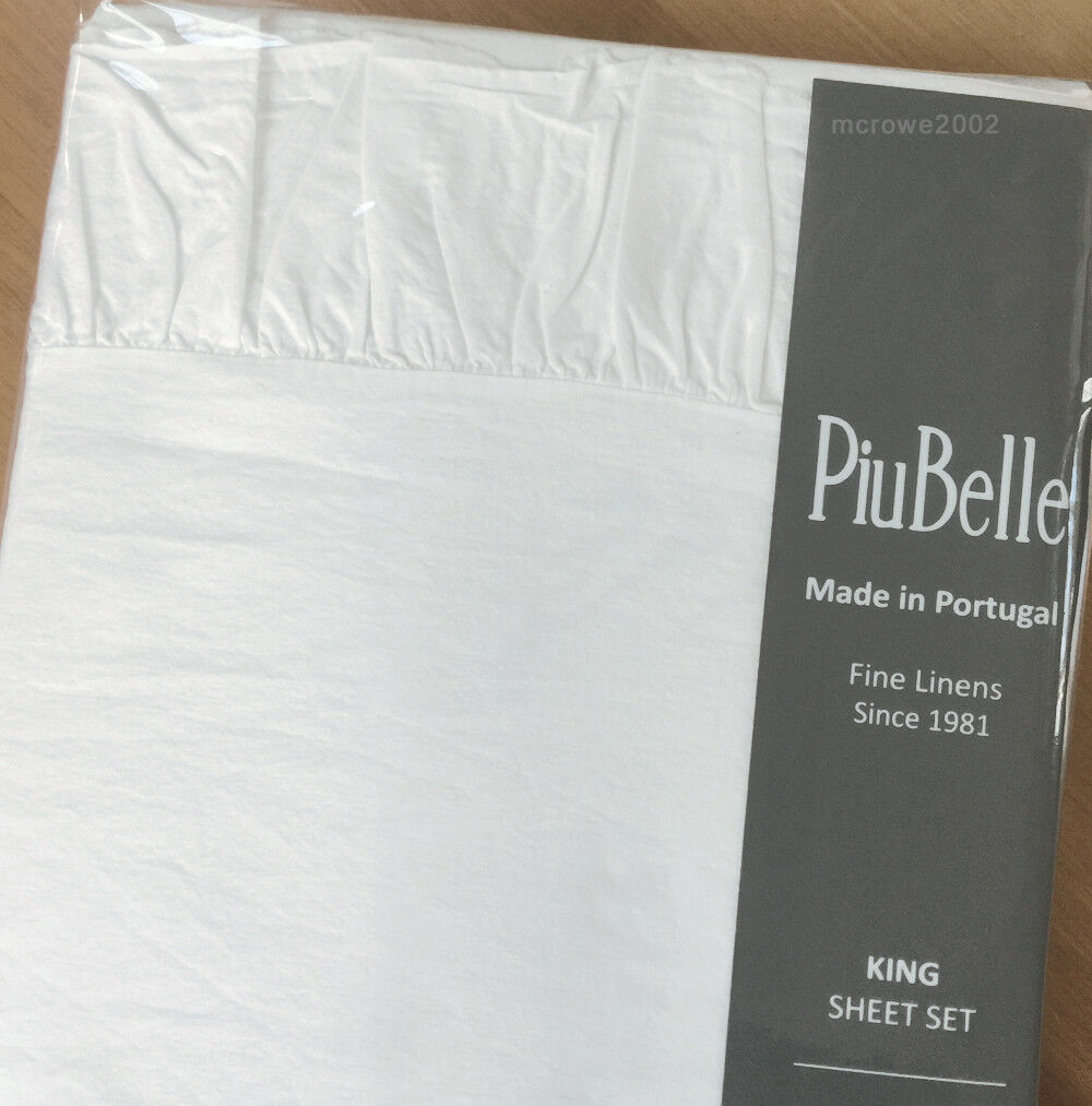 Piu Belle WHITE RUFFLE cottage 4p KING SHEET SET Portugal shabby Piubelle COTTON
