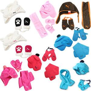 Puma Minicats Tyke Fleece Scarf Scarves Gloves Hats Kids Children Sets Toddler