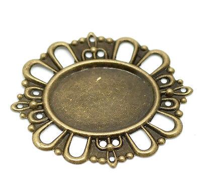 Bronze Filigree Cabochon Setting Wraps Connectors 43x38cm(Fits 24x18mm),50pcs