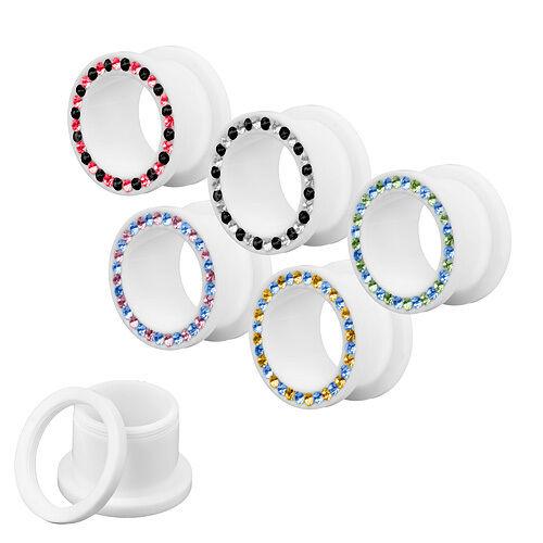 Túnel bollos blanco con cristales dos colores