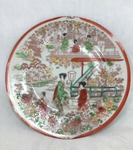 Scalloped-Plate-Soko-Fine-China-Vintage-Handpainted-Japan-Detailed-Scenery