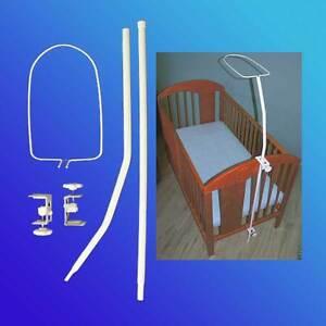 himmelstange himmel gestell universal f r kinderbett babybett betthimmel weiss ebay. Black Bedroom Furniture Sets. Home Design Ideas