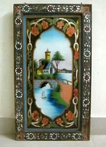 Old-Original-Primitive-Hut-Painting-On-Glass-With-Glass-Worked-Frame-Folk-Art