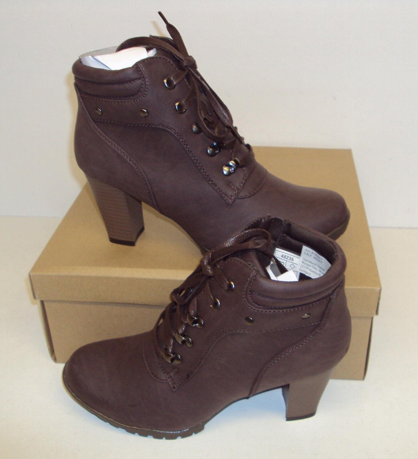 Ladies Brown Ankle Boots Block Cece Heels Chelsea Zip Shoes New Size 4 5 6 7 8
