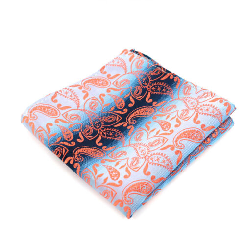 Paisley Jacquard Classic mens tie Handkerchief Set Man Silk ties Wedding Orange