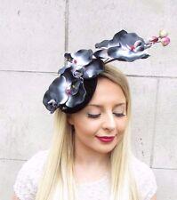 Black White Pink Velvet Orchid Flower Fascinator Hat Races Hair Clip Vtg 2650