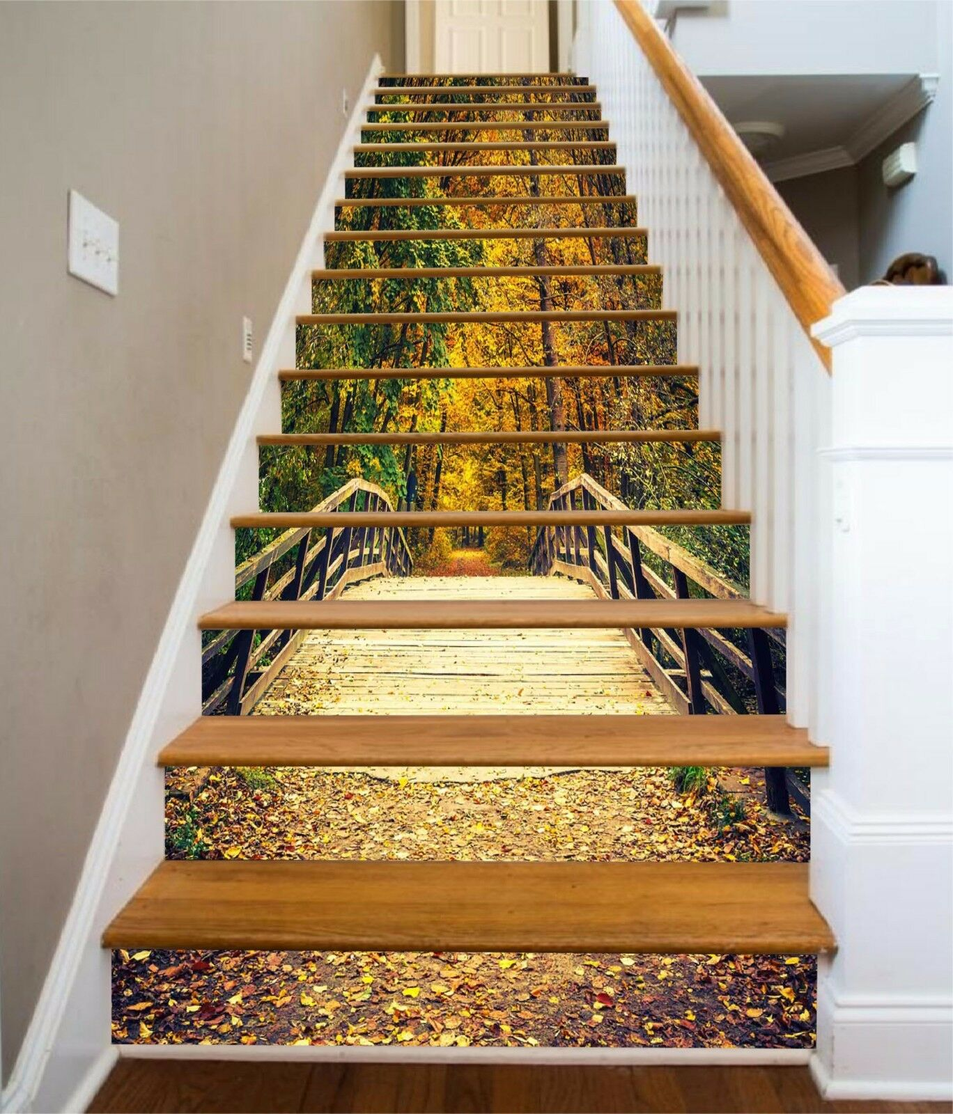 3D Forest Bridge 7 Stair Risers Decoration Photo Mural Vinyl Decal Wallpaper UK