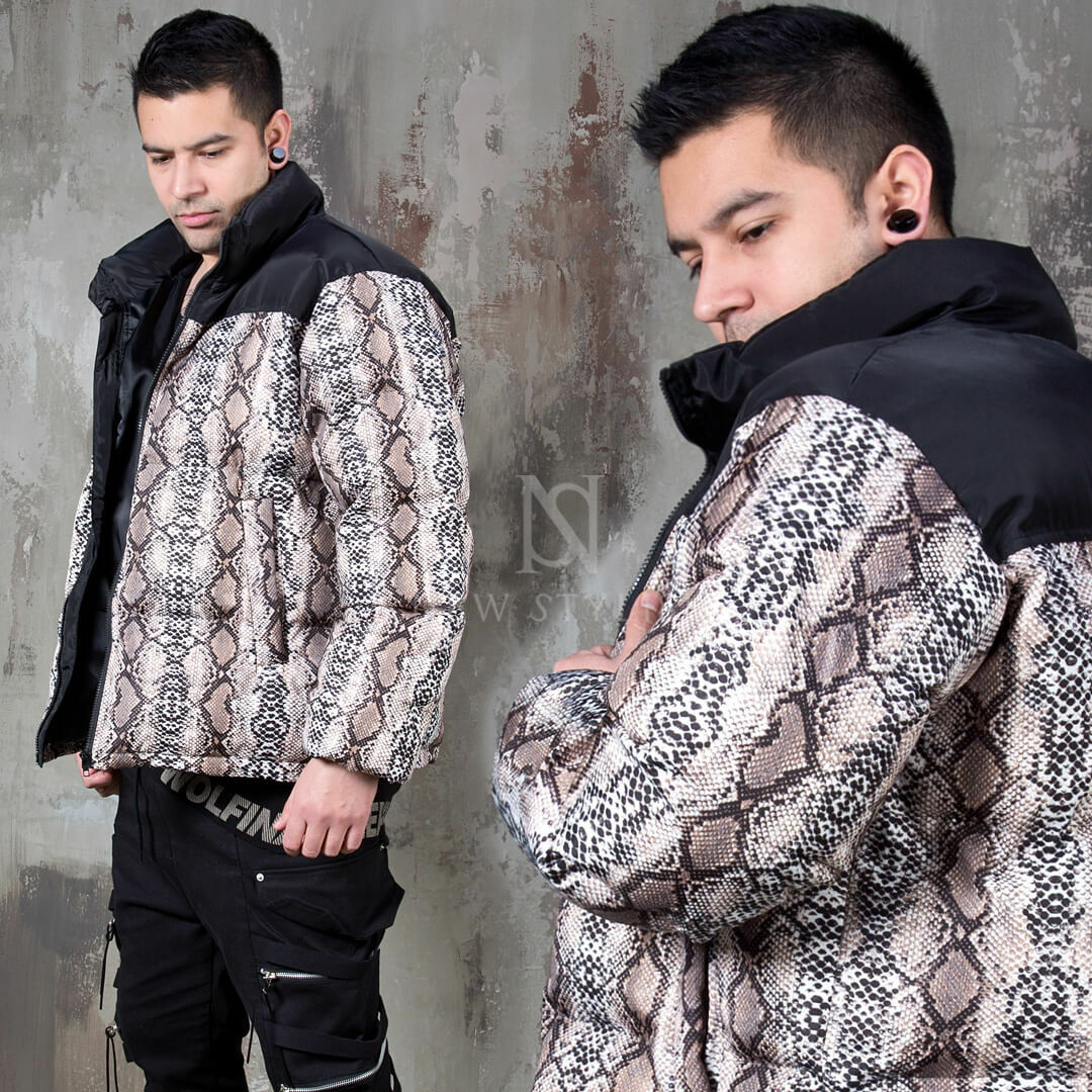 NewStylish mens fashion Python patterned padded short parka - 75