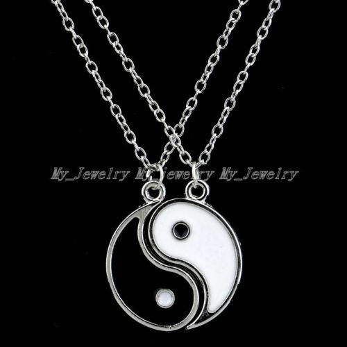 2Pcs Yin y Yang Colgante Collar de hombre mujer Mejores Amigos Amistad Esmalte