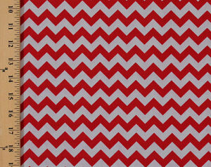 Cotton Small Chevron Red And Gray Striped Cotton Fabric Print By