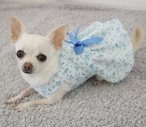 4afdedd62 Handmade Dog Dress For Small Dogs Clothing - Blue Floral - Puppy ...