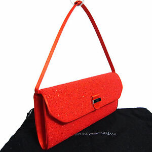 5b14689be9 Image is loading Auth-Emporio-Armani-Red-Beaded-Satin-Hand-Clutch-