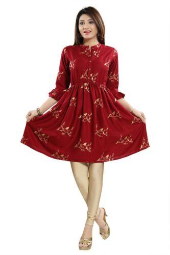 Women Indian A-Line Top Cotton Red Kurti Tunic Designer Kurta Shirt Dress NK25
