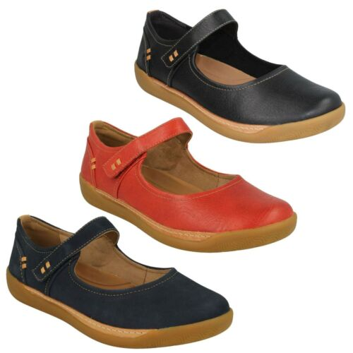 LADIES CLARKS UNSTRUCTURED LEATHER MARY JANE FLAT SHOES SIZE UN HAVEN STRAP