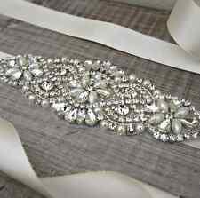 Wedding Crystal sashes Bridal Sash Belt, Rhinestone Sash With Light Ivory Satin