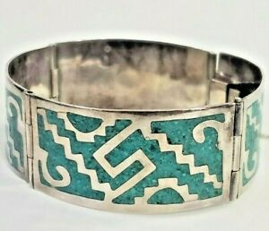 Vintage-Sterling-Silver-Bracelet-Bangle-Taxco-Mexico-Tribal-Turquoise-28-8-Grams
