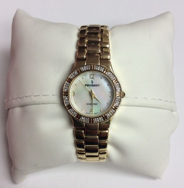 PEUGEOT Women's Diamond Gold Tone Stainless Steel Mother of Pearl Dial WATCH