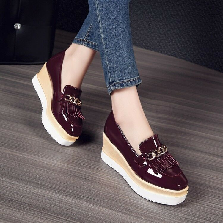 British Women Tassels Sliip On Creepers Platform Casual Retro Brogue Wedge shoes