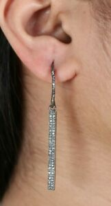 Pave Diamond Bar Hook Earring 925 Sterling Silver Vintage Style Jewelry Gift
