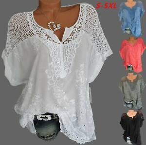 Womens-short-Sleeve-Baggy-shirt-lace-Tops-cotton-Oversized-Blouse-plus-size-8-24