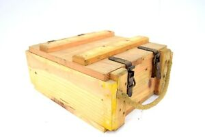 French-Army-Wooden-Storage-Box-Ammo-Tool-Wood-Chest-Rope-Handle-Vintage-Military