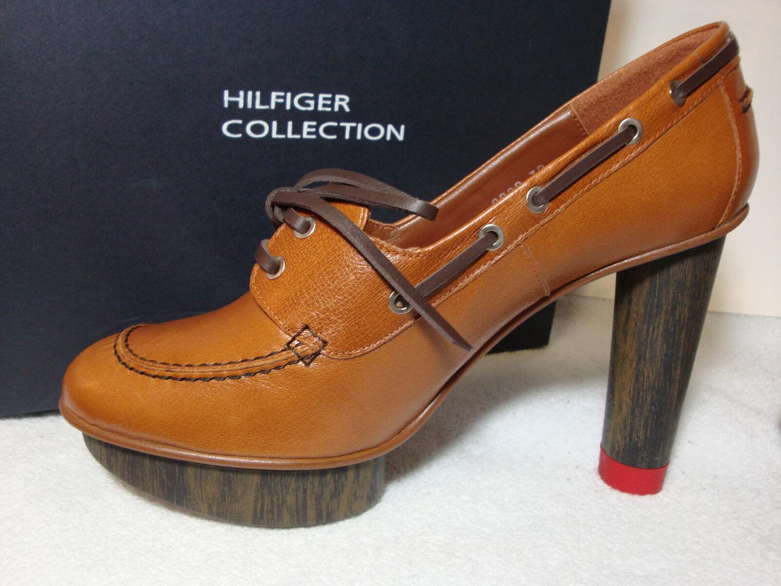 Hilfiger Collection Solid Brown Leather Platform 4  High Pumps Stilettos 39 M