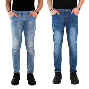 Jeans-Uomo-Strappati-Pantalone-Slim-Fit-Denim-Casual-Blu-Elasticizzato-Estivo