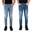 Jeans-Uomo-Strappati-Pantalone-Slim-Fit-Denim-Casual-Blu-Elasticizzato-Estivo miniatura 1