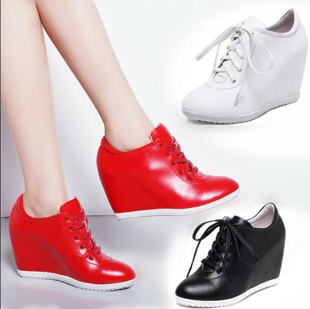 Womens shoes Leather Sneakers Wedge High Heels Sports shoes Muffin Casual T657