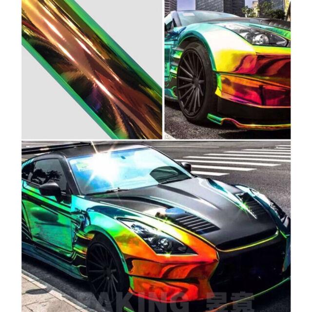 1 35 X10m Holographic Rainbow Chrome Car Vinyl Wrap Sticker Film Air Bubble