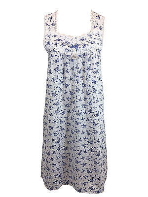 Ex Marks and Spencer Sleeveless Cotton Nightdress Cool Comfort Size 20 22