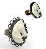 Horse Head Cameo Adjustable Ring