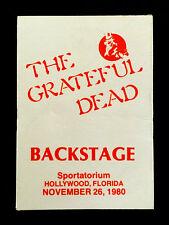 Grateful Dead Backstage Pass Florida Hollywood Sportatorium Pembroke 11/26/1980