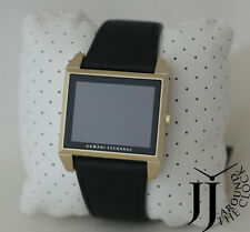 New Armani Exchange Men Watch Squara Red LED Light Black Leather Watch AX2220