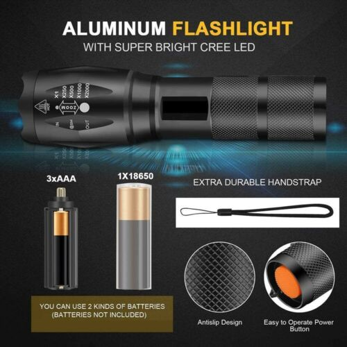 Details about  /Original Police 90000LM T6 Super Bright Zoom Flashlight Powerful Camping Torch