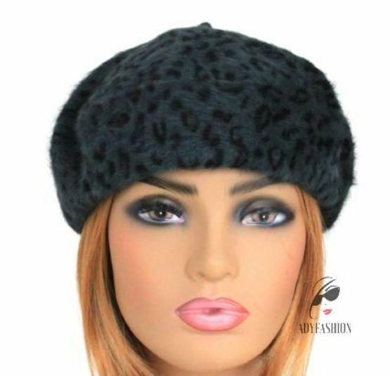 Calidad de Lana de Angora mezcla Boina Damas Para Mujeres Sombrero Leopardo Impresión Verde Oscuro