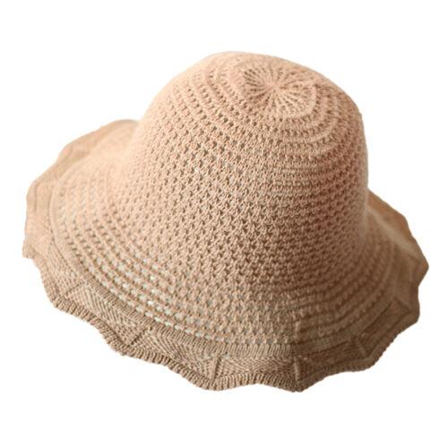 Femmes été plage Floppy Chapeau De Paille Pliable Large Bord Seau Maille cloche Caps