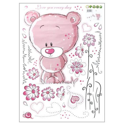 Pink Removable Bear Vinyl Decor Art Mural Wall Stickers Decal Kids Baby Nurs ghj