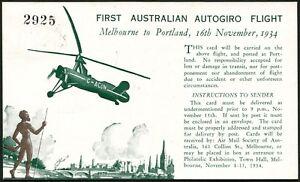 16-Nov-1934-AAMC-461-Melb-Portland-autogiro-helicopter-flown-souvenir-PC