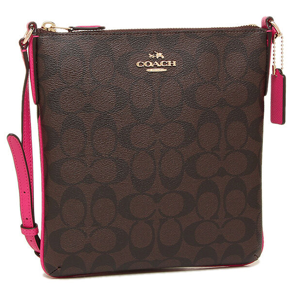 coach north south crossbody in coated canvas leather brown pink rh ebay com