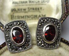 Vintage Edwardian Style Jewellery Sterling Silver Garnet Marcasite EARRINGS