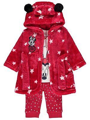 Bébé Fille 3 Pièces Disney Minnie Mouse Polaire Robe de chambre et pyjama 0-24 mois
