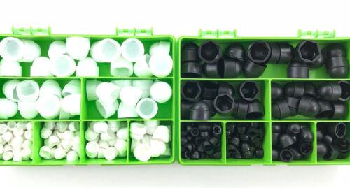 290 ASSORTED PIECE BLACK WHITE PLASTIC NUT /& BOLT COVERS M4 M5 M6 M8 M10 M12 KIT