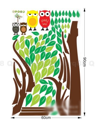 Four Owl Swing on Tree Wall decal Removable sticker home kids nursery baby decor