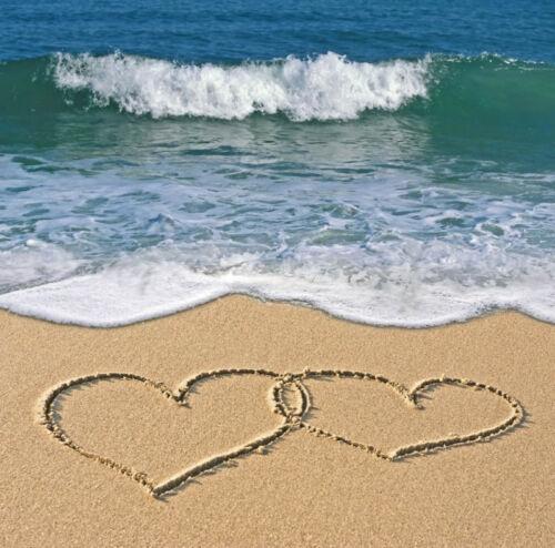 "Birthday Card /""Love Hearts on the Beach/"" for Husband Wife Partner FREEPOST!"