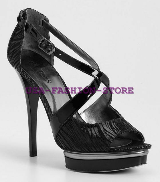 Guess Berale Black Leather Heels Pumps Sandals Platform Women's size 6 7 8.5 new