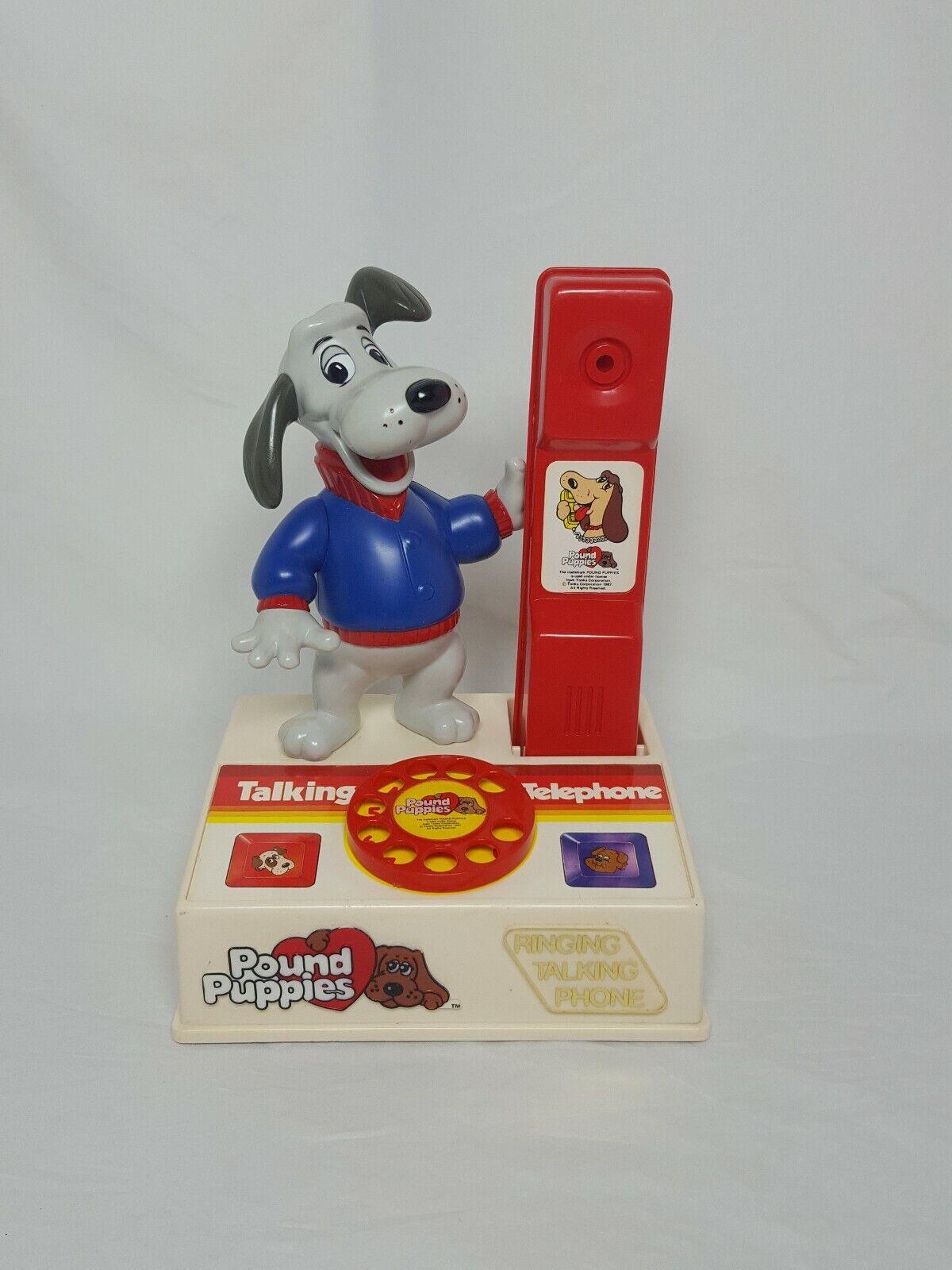 Vintage Vintage Vintage 1987 Pound Puppies Cachorro llamada hablando teléfono Tonka Retro  edición limitada