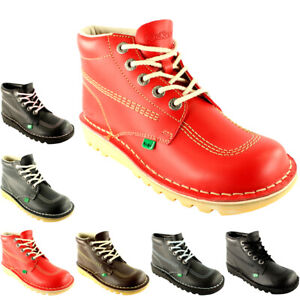 Unisex Kids Youth Kickers Kick Hi Back To School Leather Boots Shoes All Sizes