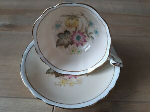 Paragon-Tea-Cup-and-Saucer-Bone-China-Footed-Flowers-Beige-Floral