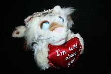 Walmart Plush Blue Googly eye White Tiger I'm Wild About You heart